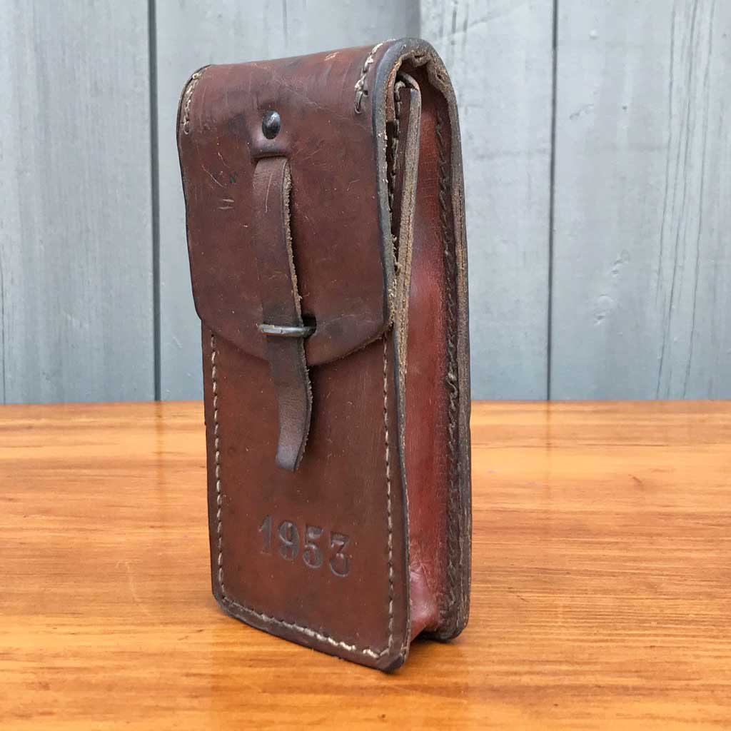 Vintage French Leather Ammo Case, 1953