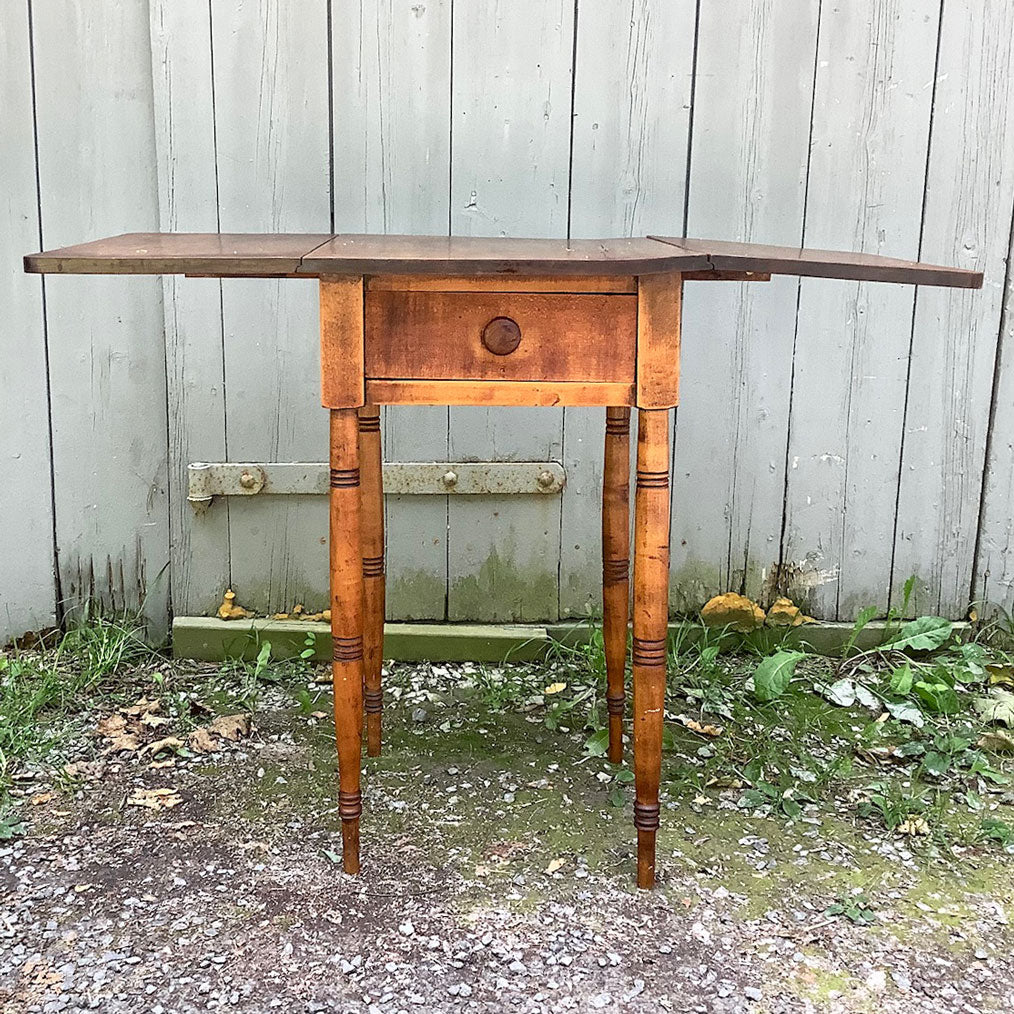 Antique One Drawer Drop Leaf Side Table, circa 1830
