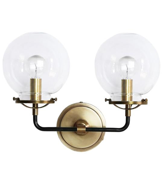 French Bistro Double Sconce w/ Clear Glass in Antique Brass and Bronze