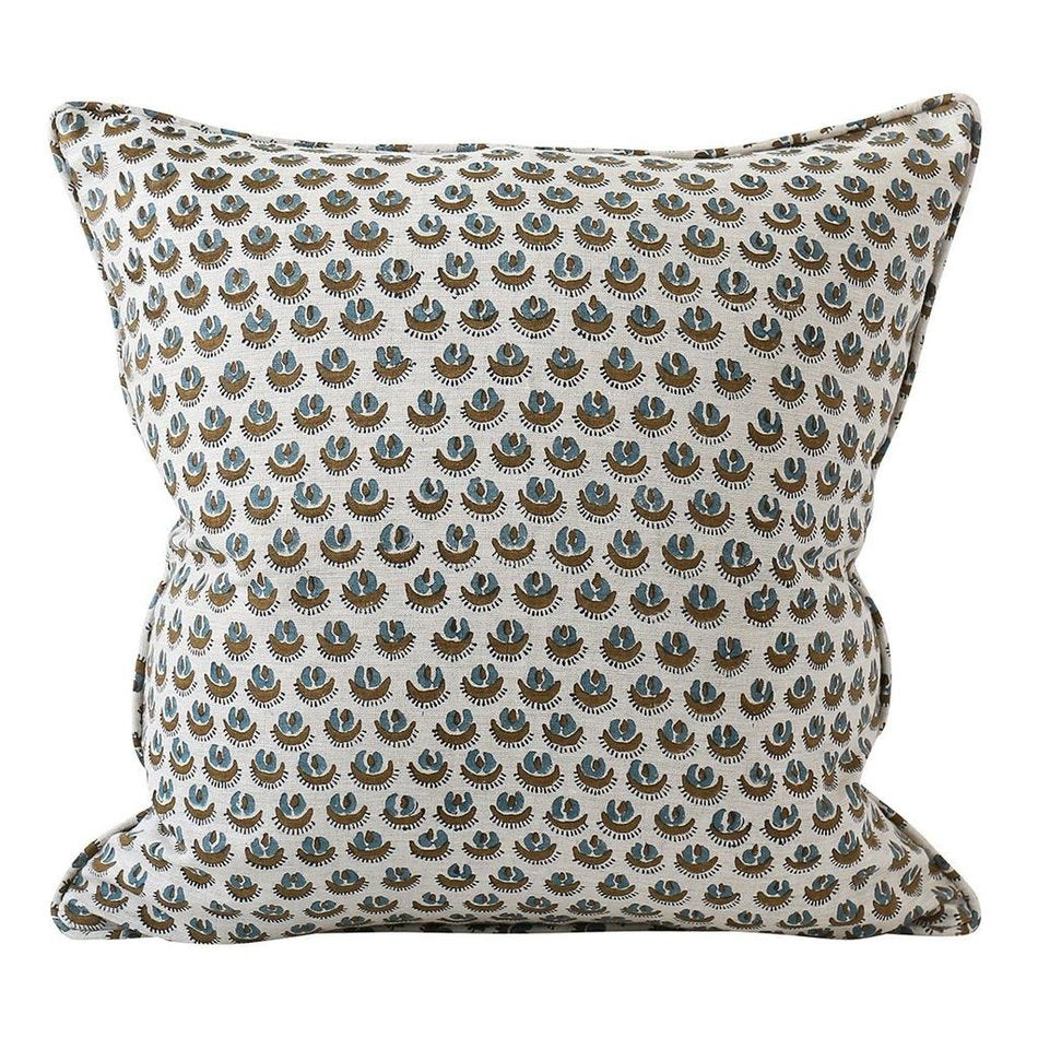 Cadiz Tobacco Linen Pillow Cover w/ Down Filler