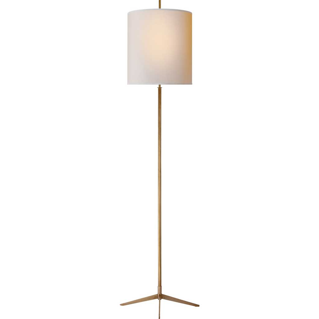 Caron Floor Lamp in Hand Rubbed Antique Brass