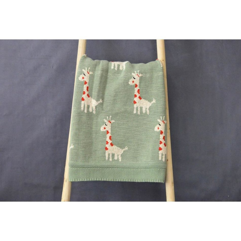 Cotton Knit Giraffe Blanket