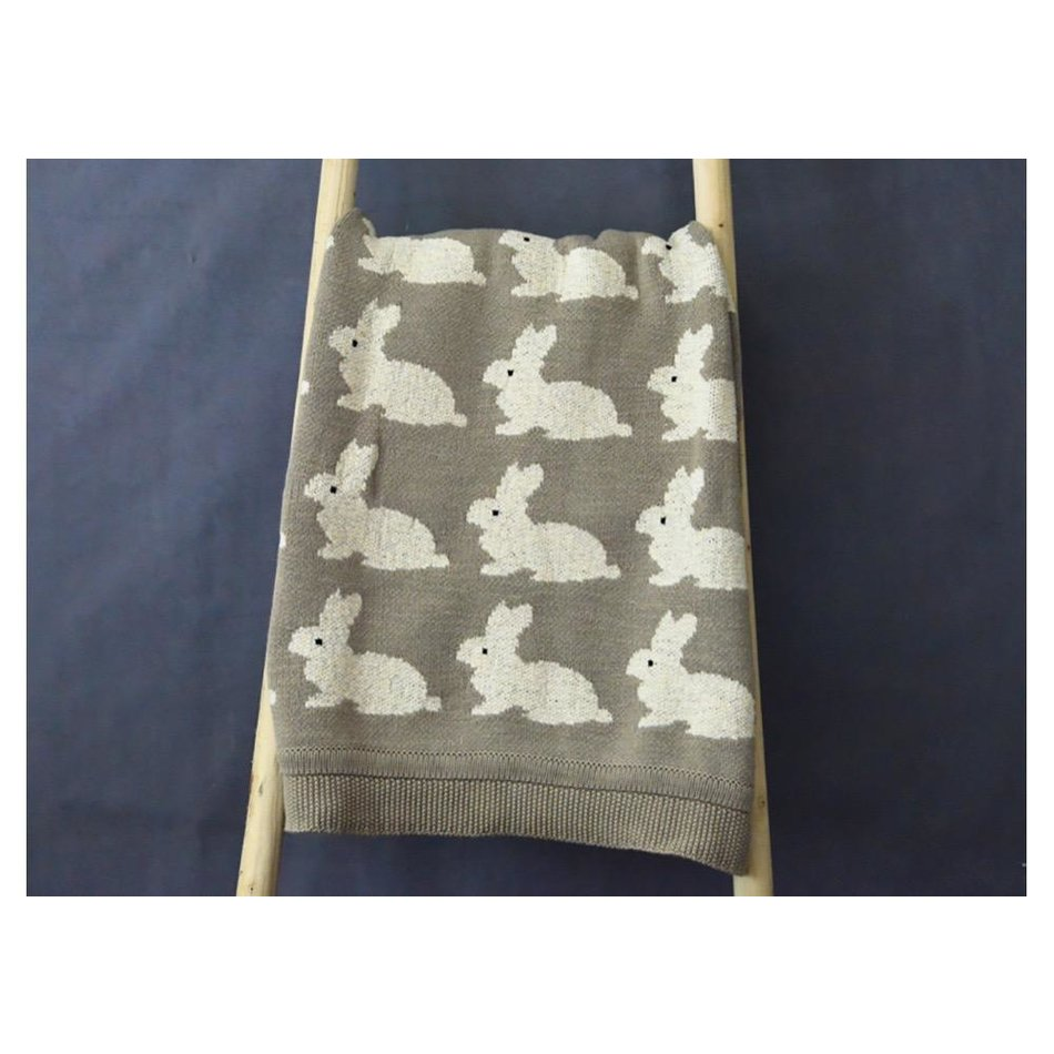Cotton Knit Rabbit Blanket