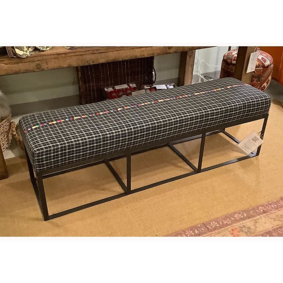 "Cruz 60"" Bench in Black Plaid by Cisco Home"