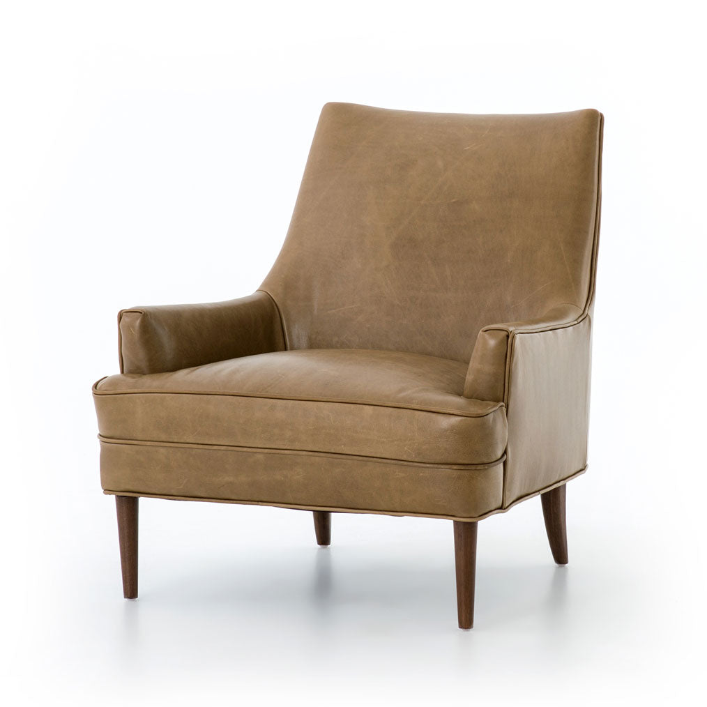Dani Leather Chair in Warm Dakota Taupe