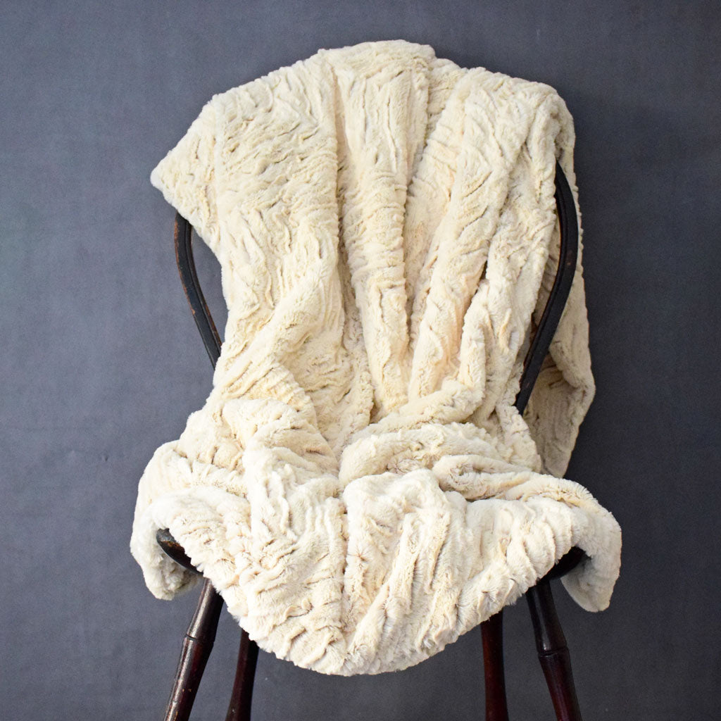 Faux Fur Throw in Zebra Duotone Camel