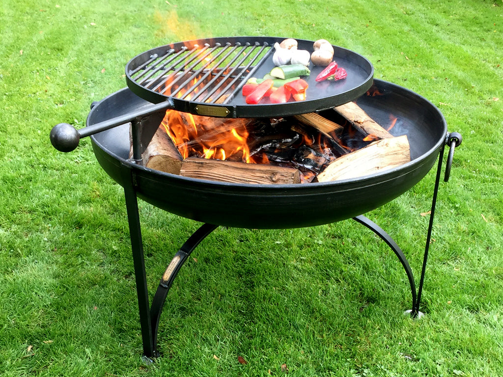 "Hand-Crafted Plain Jane 28"" Fire Pit w/Swing Arm and BBQ Rack"