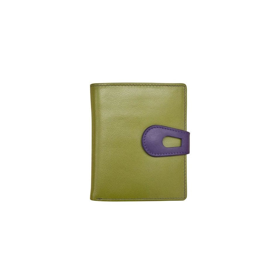 French Purse Leather Wallet Moss Green/Purple