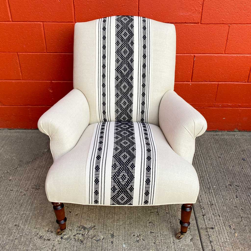 Fritillaria Chair in Black Oaxacan Runner by John Derian for Cisco Brothers