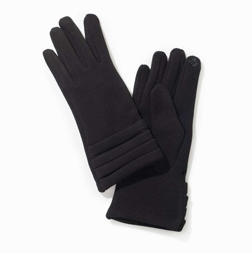 Texting Pleated Gloves in Black