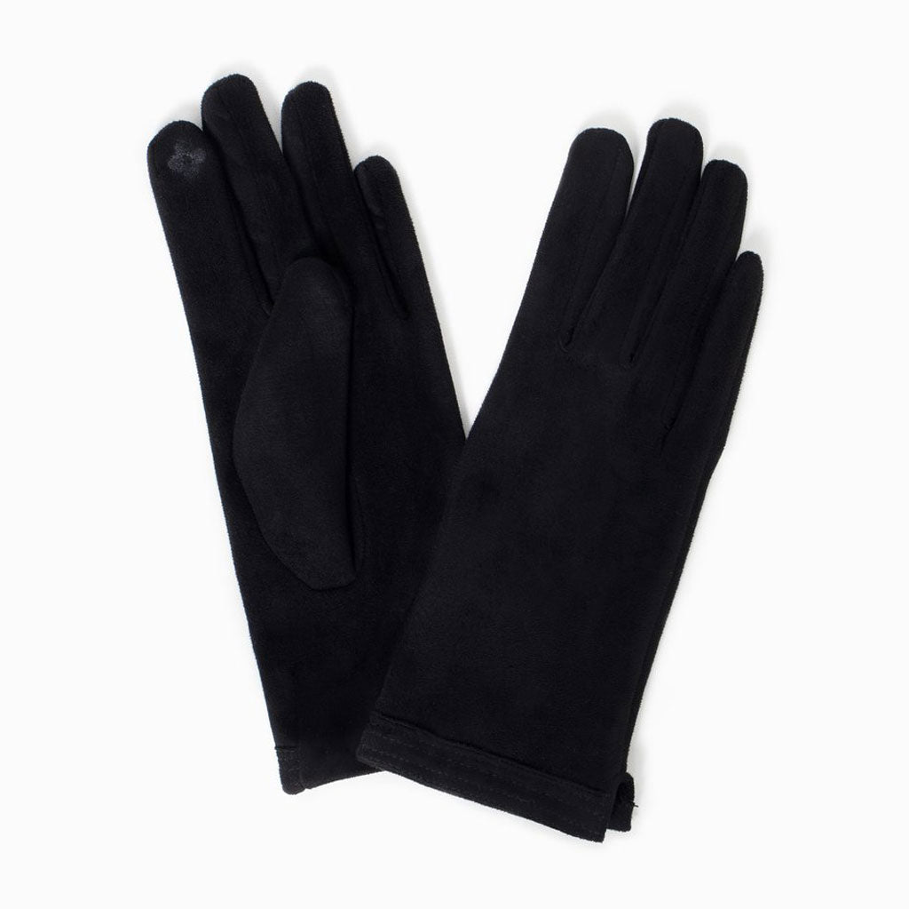 Stitch Point Faux Suede Gloves in Black