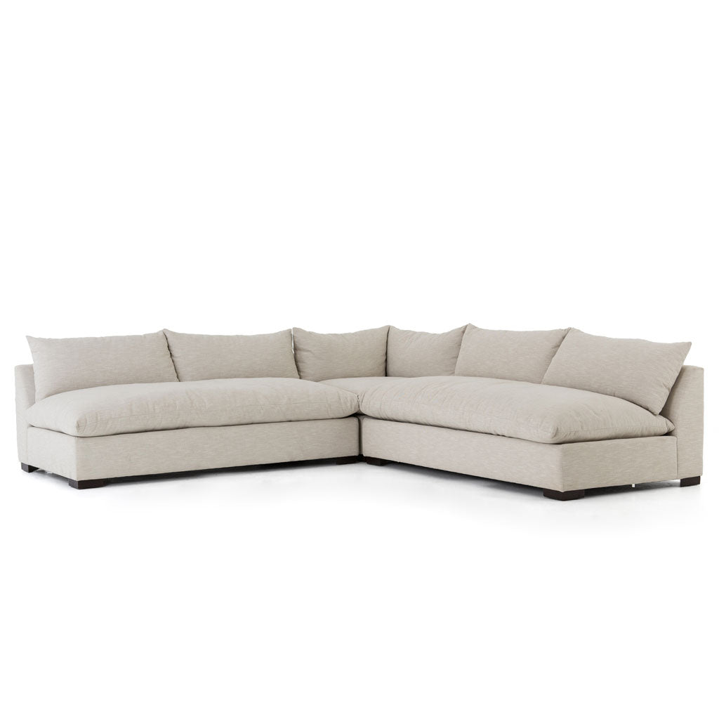 Graham 3 Piece Sectional in Ashby Oatmeal w/ Down Blend Cushions