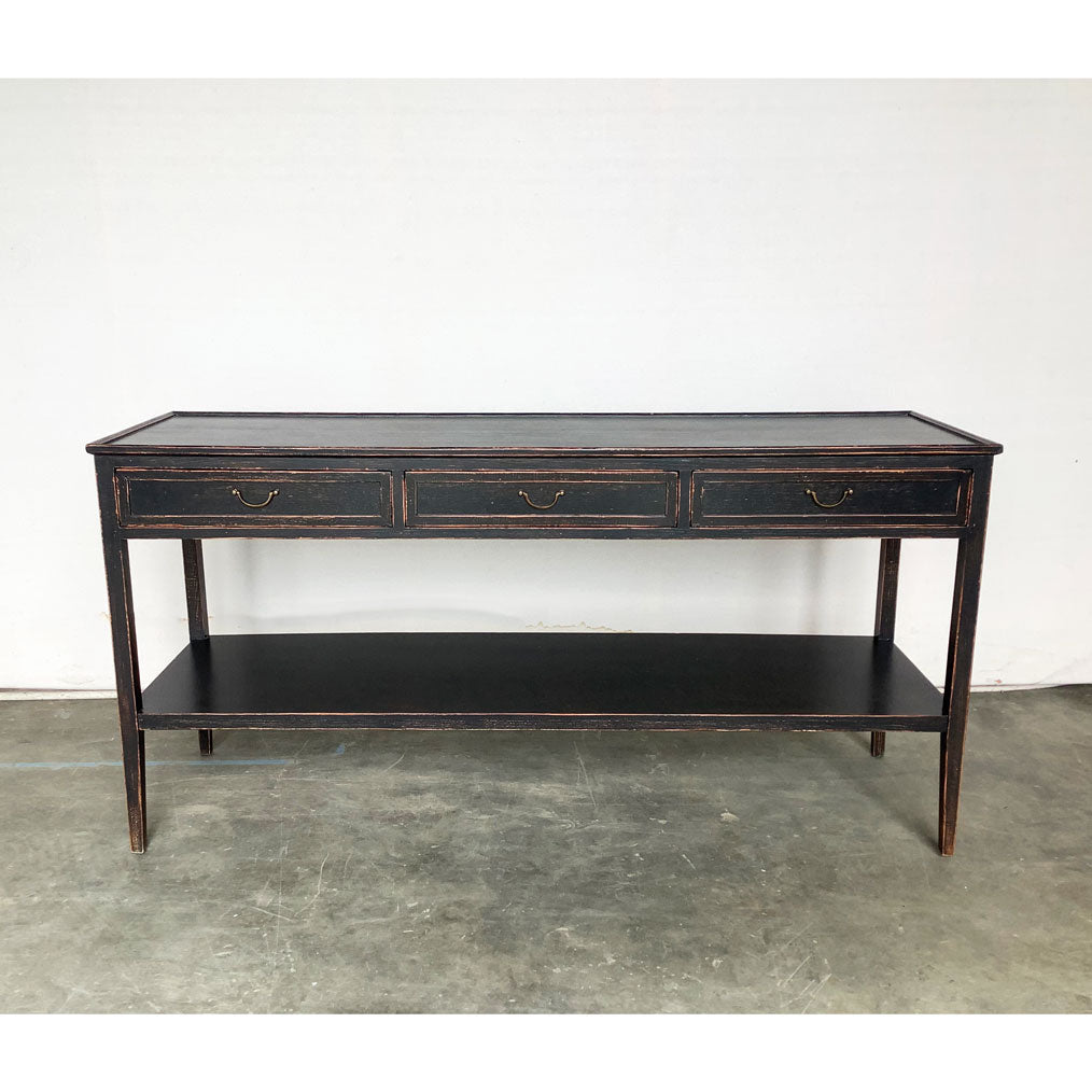 Gustavian Console w/ Three Drawers and Bottom Shelf in Antique Black