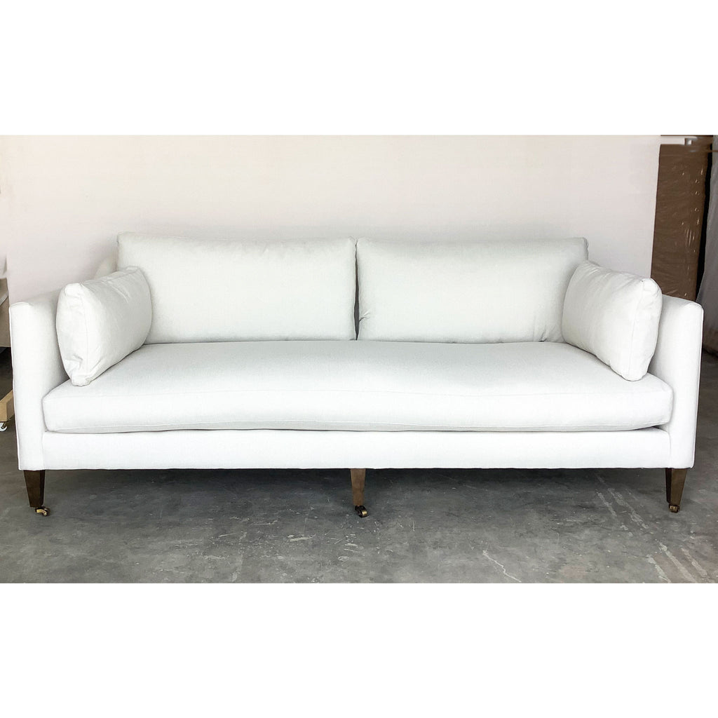 Hannah Sofa w/ Feather Down Cushions in Bone White Kid-Proof Fabric