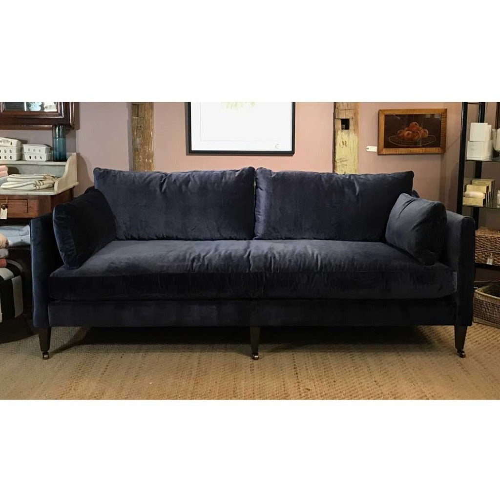 Hannah Sofa w/ Feather Down Cushions in Navy