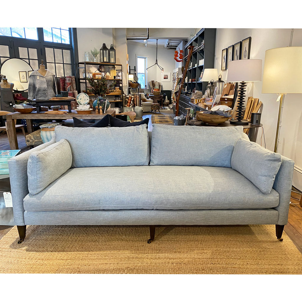 Hannah Sofa in Kid Proof Ice Blue w/ Feather Down Cushions