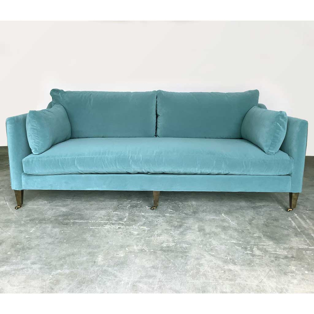 Hannah Sofa w/ Feather Down Cushions in Kid Proof Adriatic Green Kid