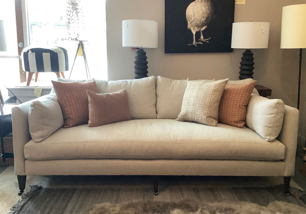 Hannah Sofa in Kid Proof Pebble w/ Feather Down Cushions