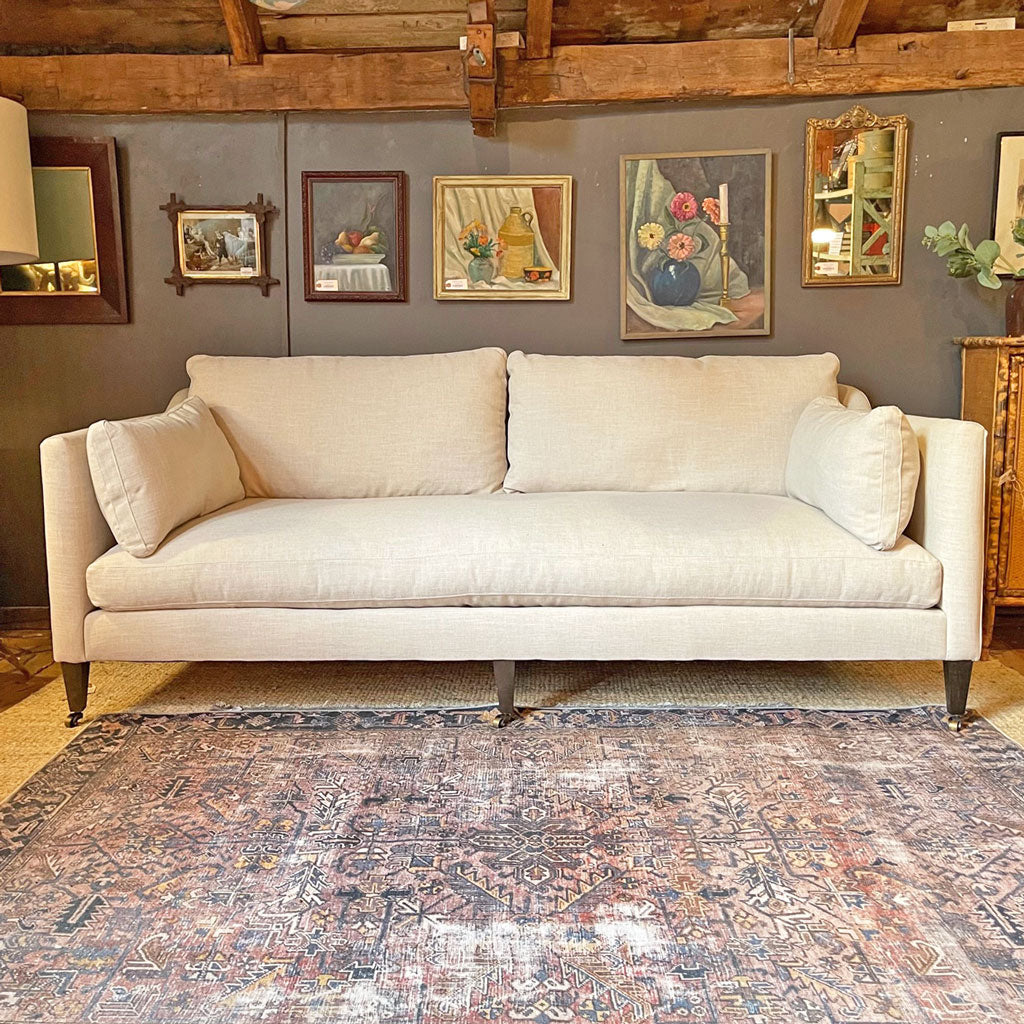 Hannah Sofa w/ Feather Down Cushions in Kid-Proof Natural Wheat