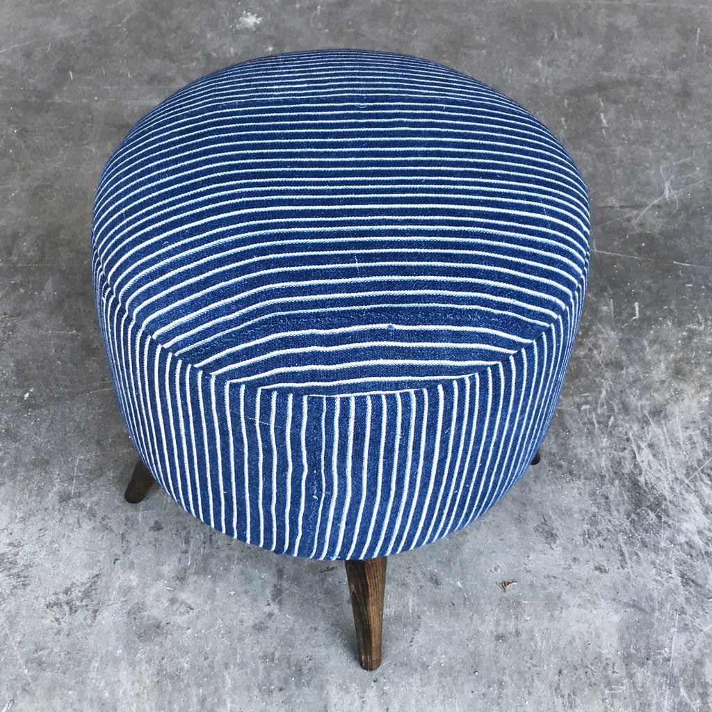 Vintage Indigo Mud Cloth Stool Ottoman 1020-F