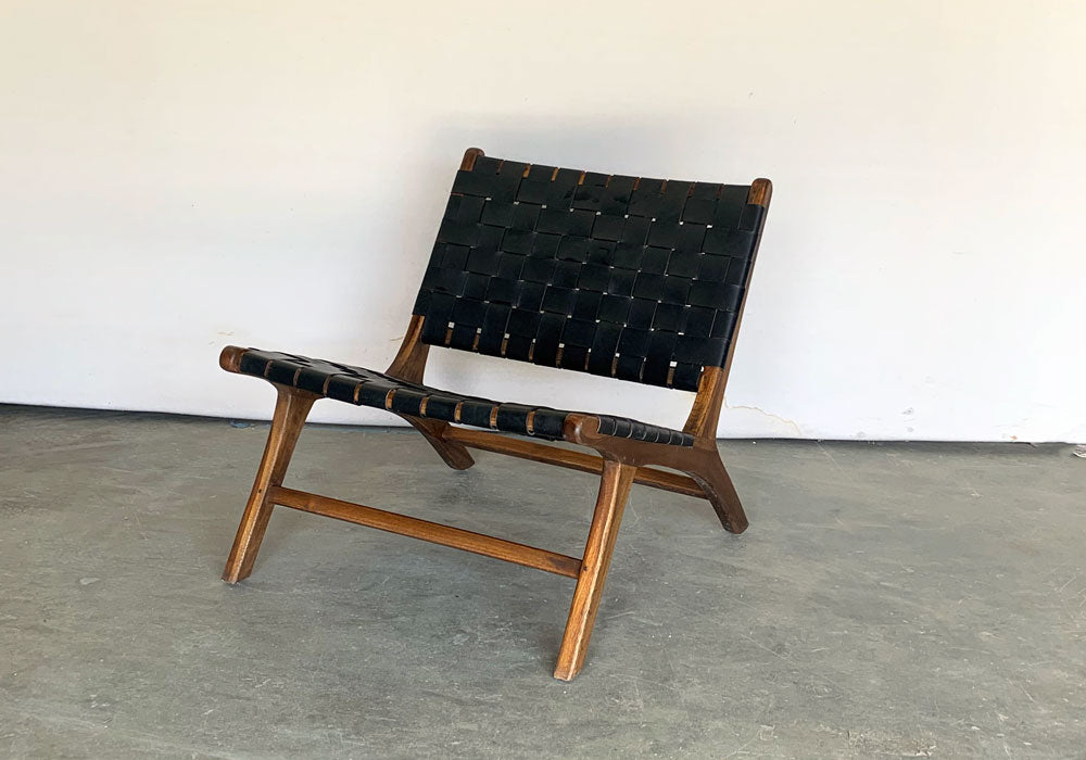 Iris Teak Chair in Black Leather