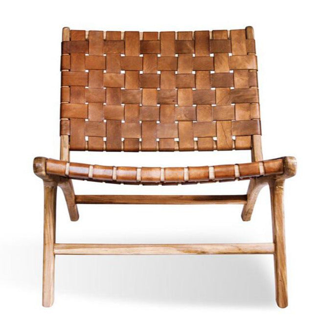 Iris Teak and Leather Chair