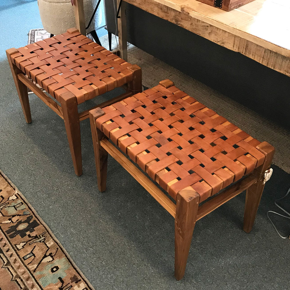 Iris Leather and Teak Bench