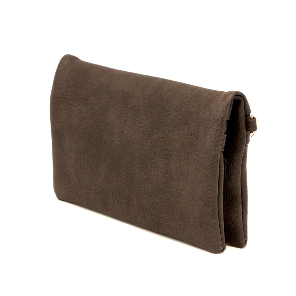 Vegan Leather Kate Crossbody Clutch in Charcoal