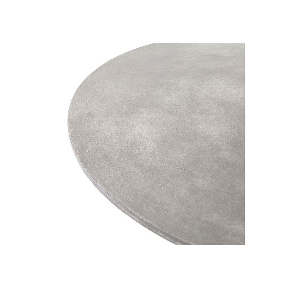 Kaufman Round Dining Table in Polished Concrete and Iron