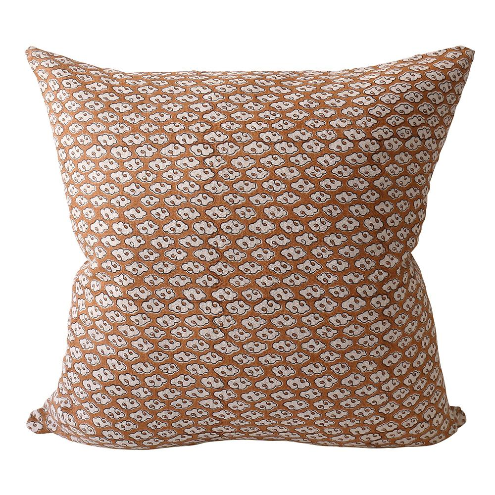 Kumo Rust Linen Pillow Cover w/ Down Filler