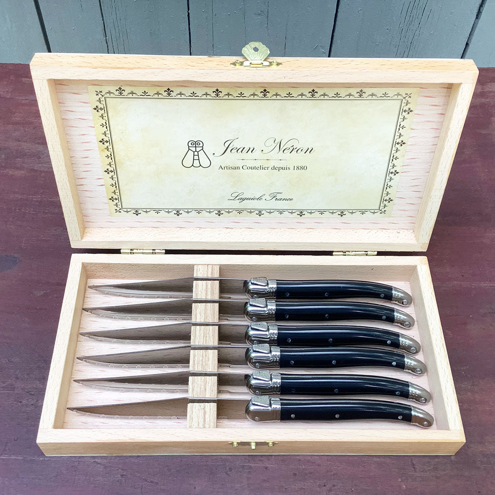 Laguiole Set of Six Black Knives in Presentation Box