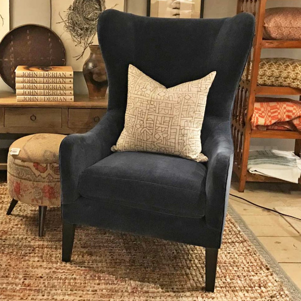 Lincoln Wing Back Chair in Everest Ink w/ Haven Seat by Lee Industries