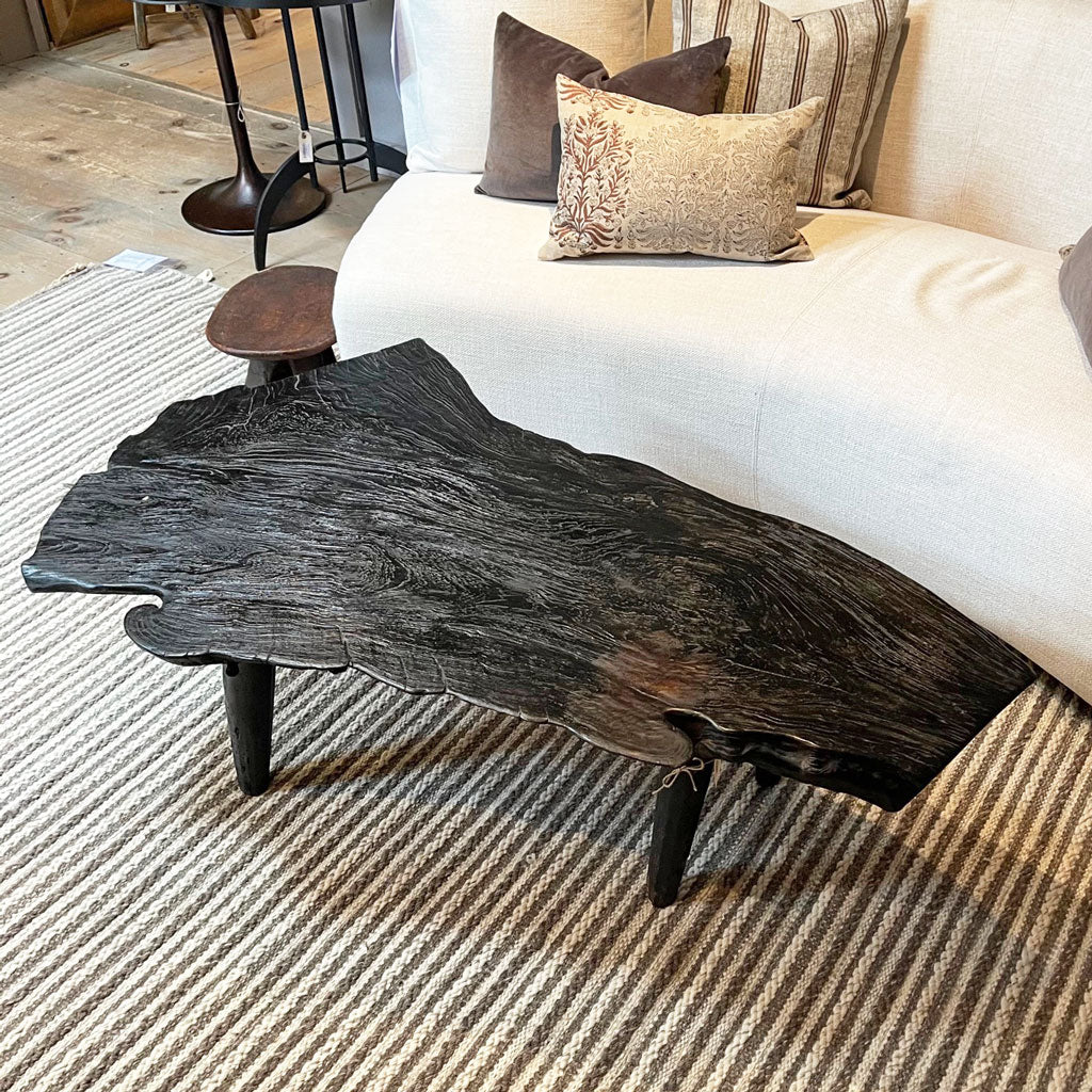 Indonesian Live Edge Black Coffee Table