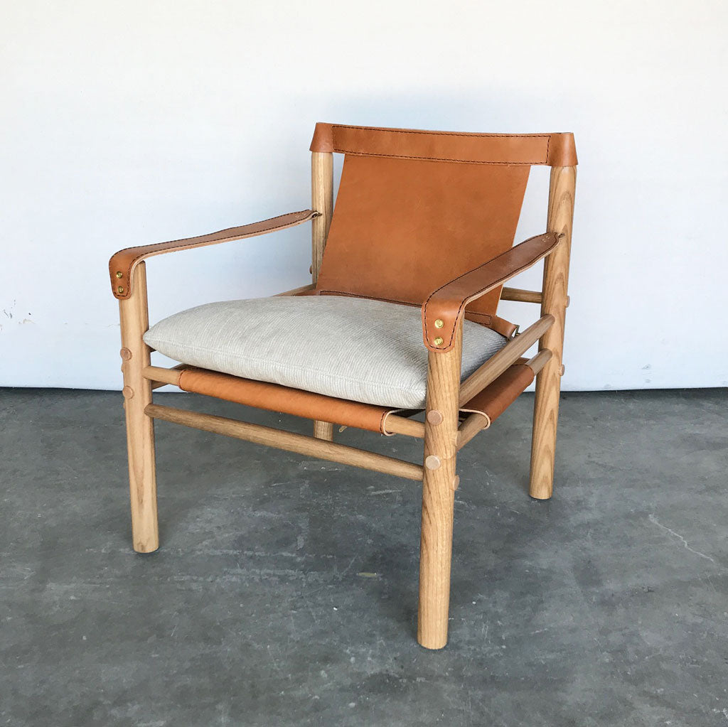 Lucien Leather Chair in  Phoenix Natural Leather w/ Calvin Khaki Seat Cushion and Natural Finish By Lee Industries