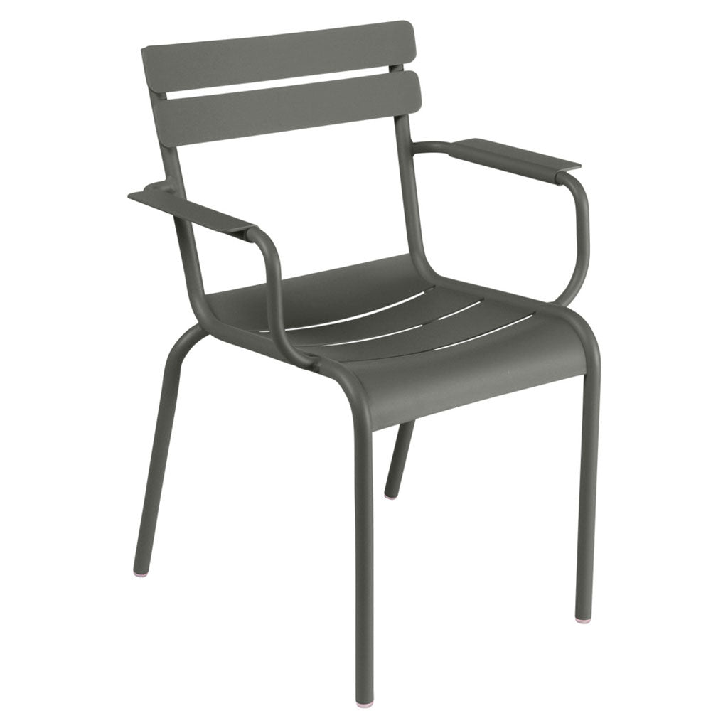 Fermob Luxembourg Outdoor Stackable Arm Chair in Rosemary