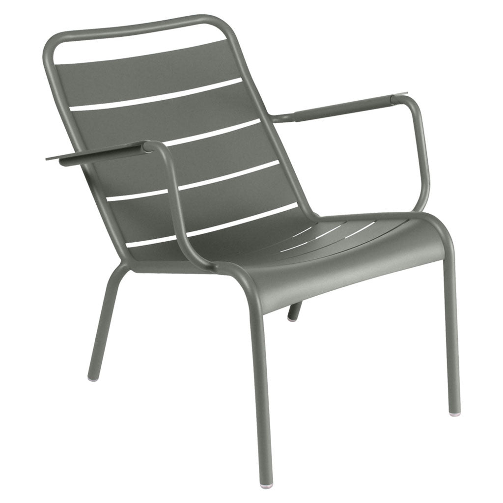 Fermob Luxembourg Outdoor Stackable Low Arm Chair in Rosemary