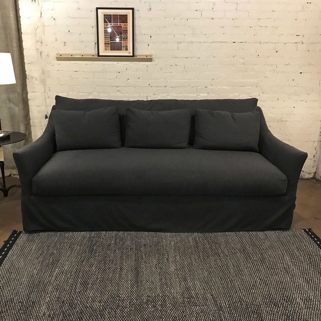 "Mallory 85"" Sofa Slipcovered in Onyx w/ Down Blend Cushions"
