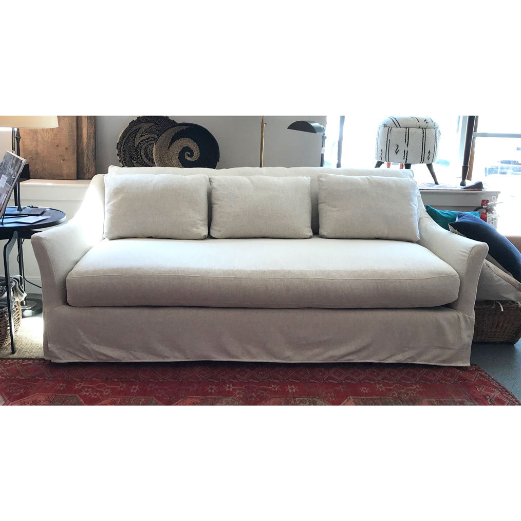 "Mallory 85"" Sofa Slipcovered in Washable Straw w/ Down Blend Cushions"