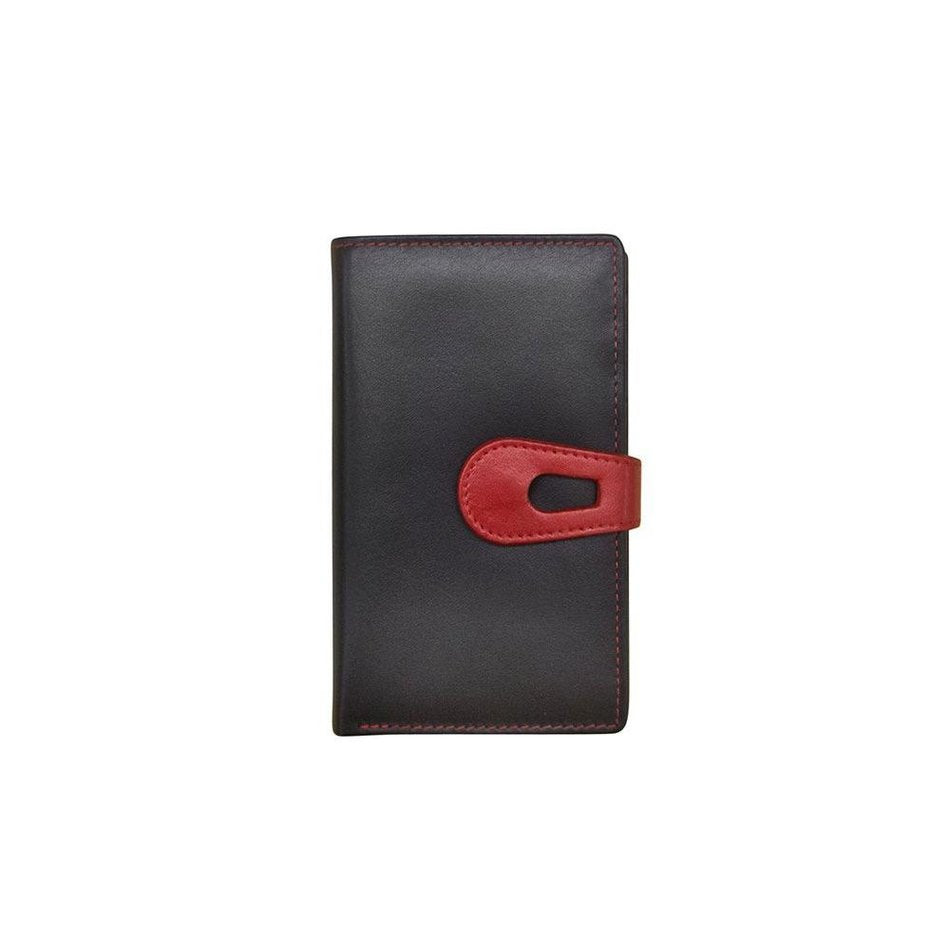 Midi Leather Wallet in Black/Red