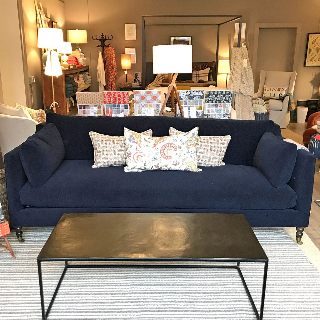 "Monique 90"" Sofa in Kid Proof Navy w/ Down Blend Cushions"
