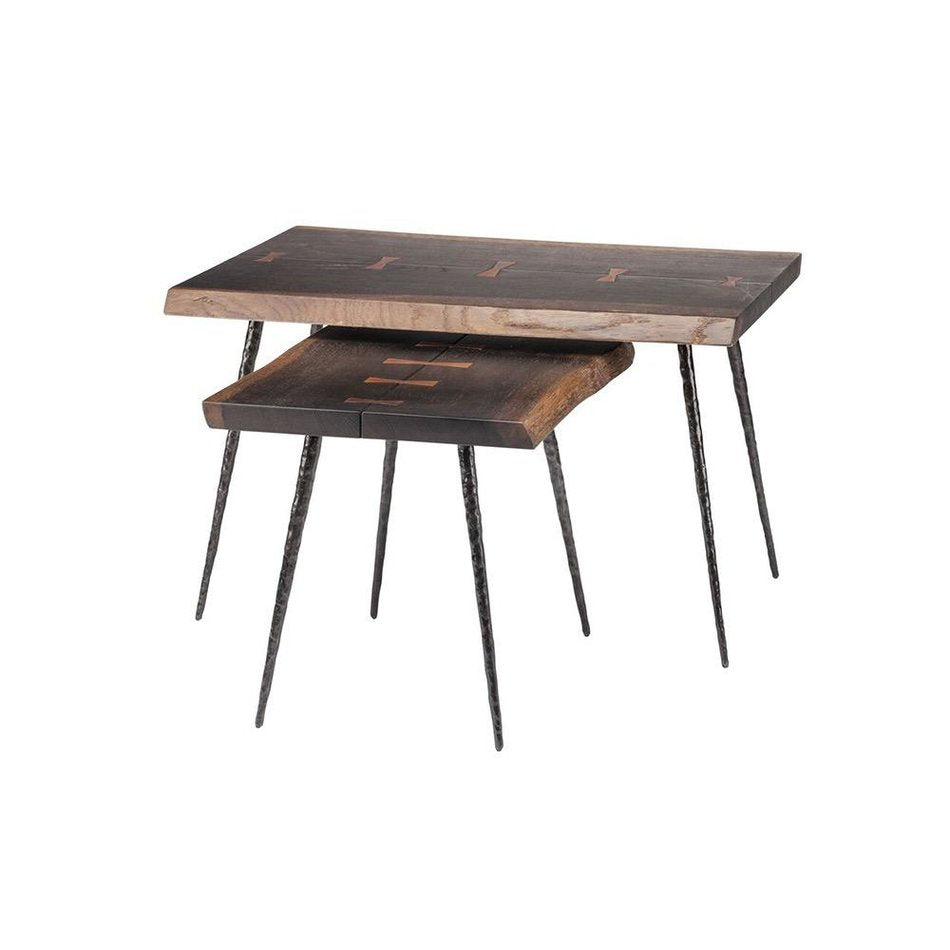 Nico Seared Oak Side Tables, Set Of Two