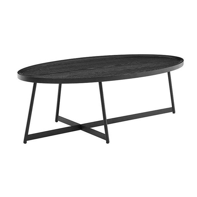 "Nicole 47"" Oval Coffee Table in Black"