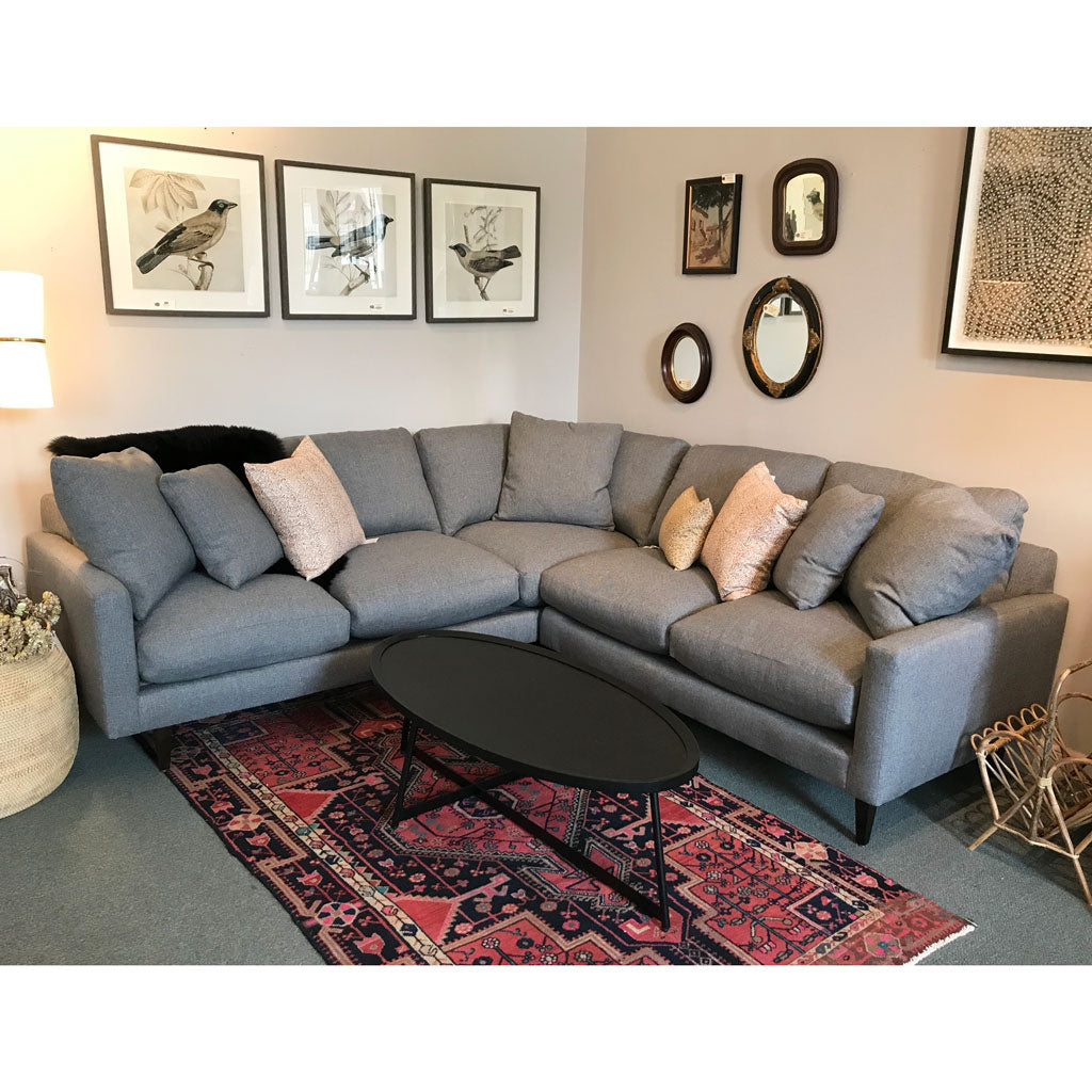 Ollie Sectional in Kid Proof Mineral w/ Down Blend Cushions