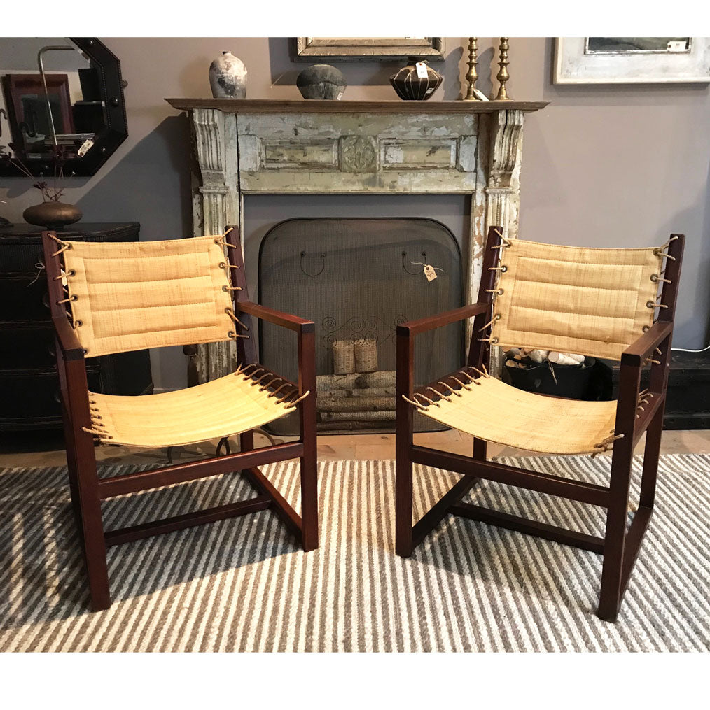 Pair of Vintage French Beechwood and Raffia Armchairs, Circa 1960's