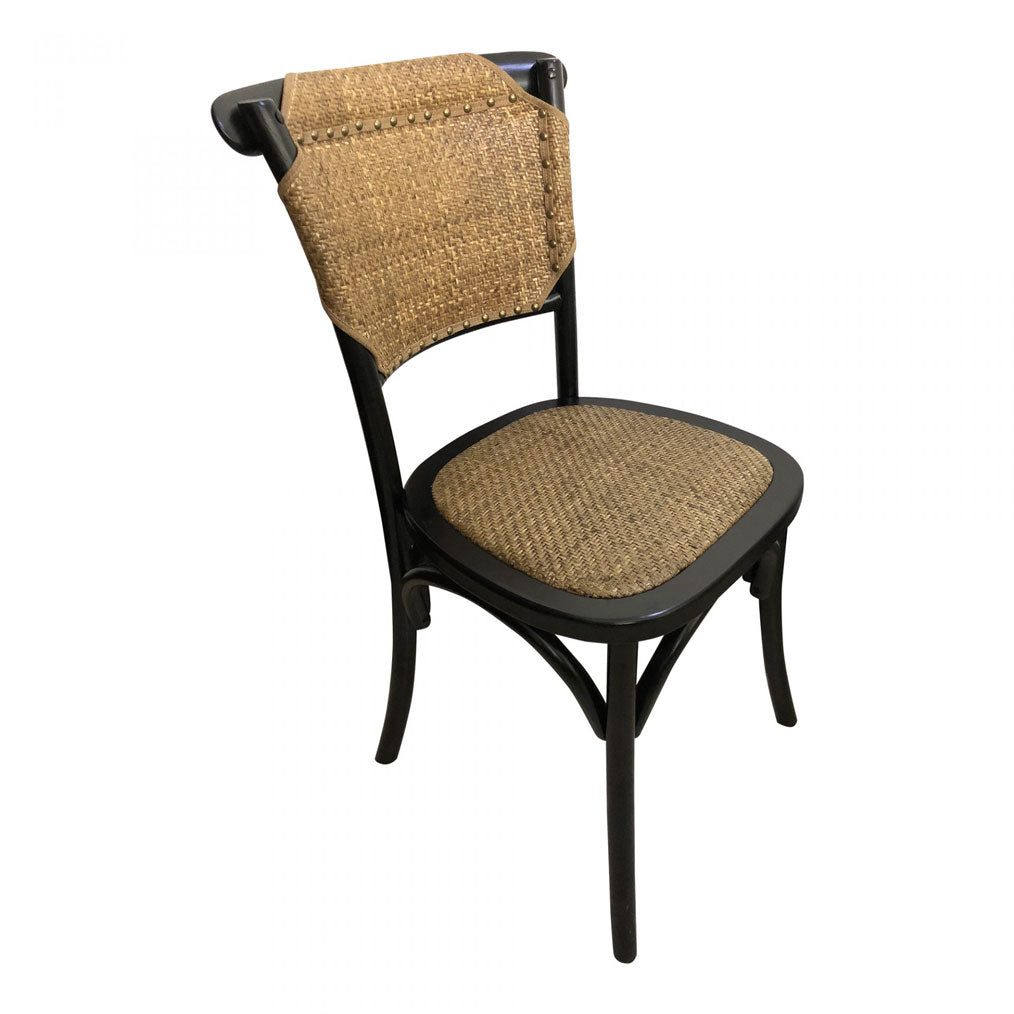 Pilar Black and Rattan Dining Chair