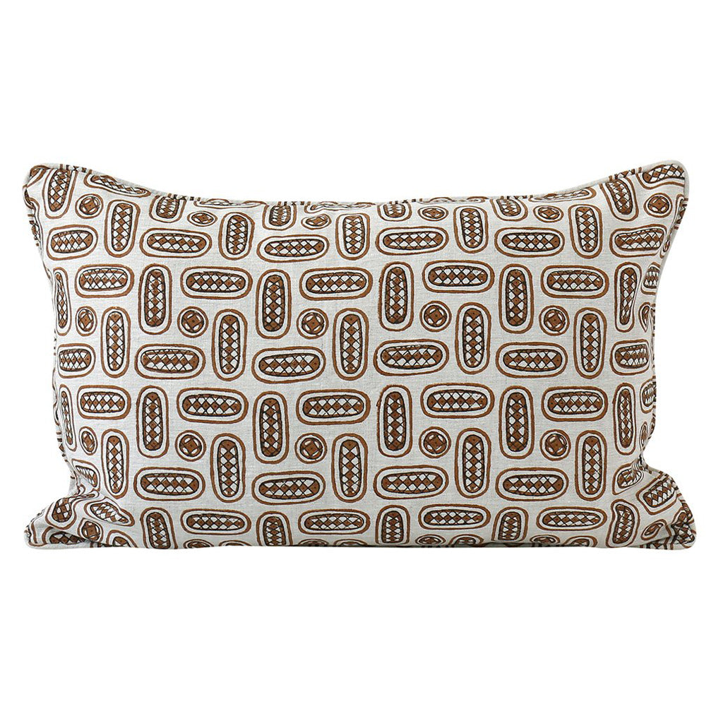Mondello Tobacco Linen Pillow Cover w/ Down Filler