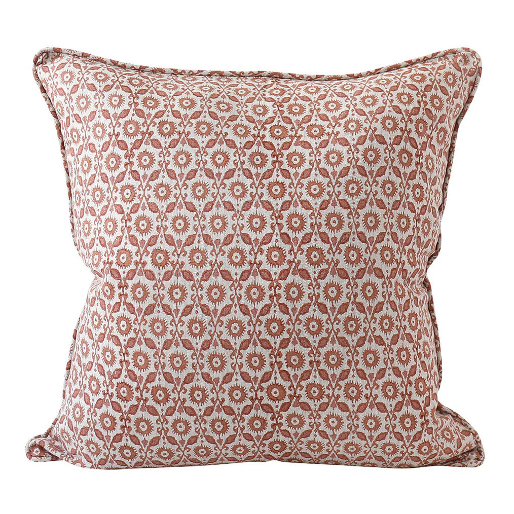 Suzani Guava Linen Pillow Cover w/ Down Filler