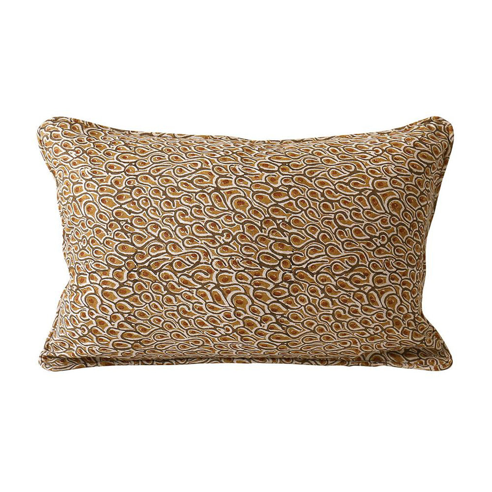 Uzes Rust Linen Pillow Cover w/ Down FIller