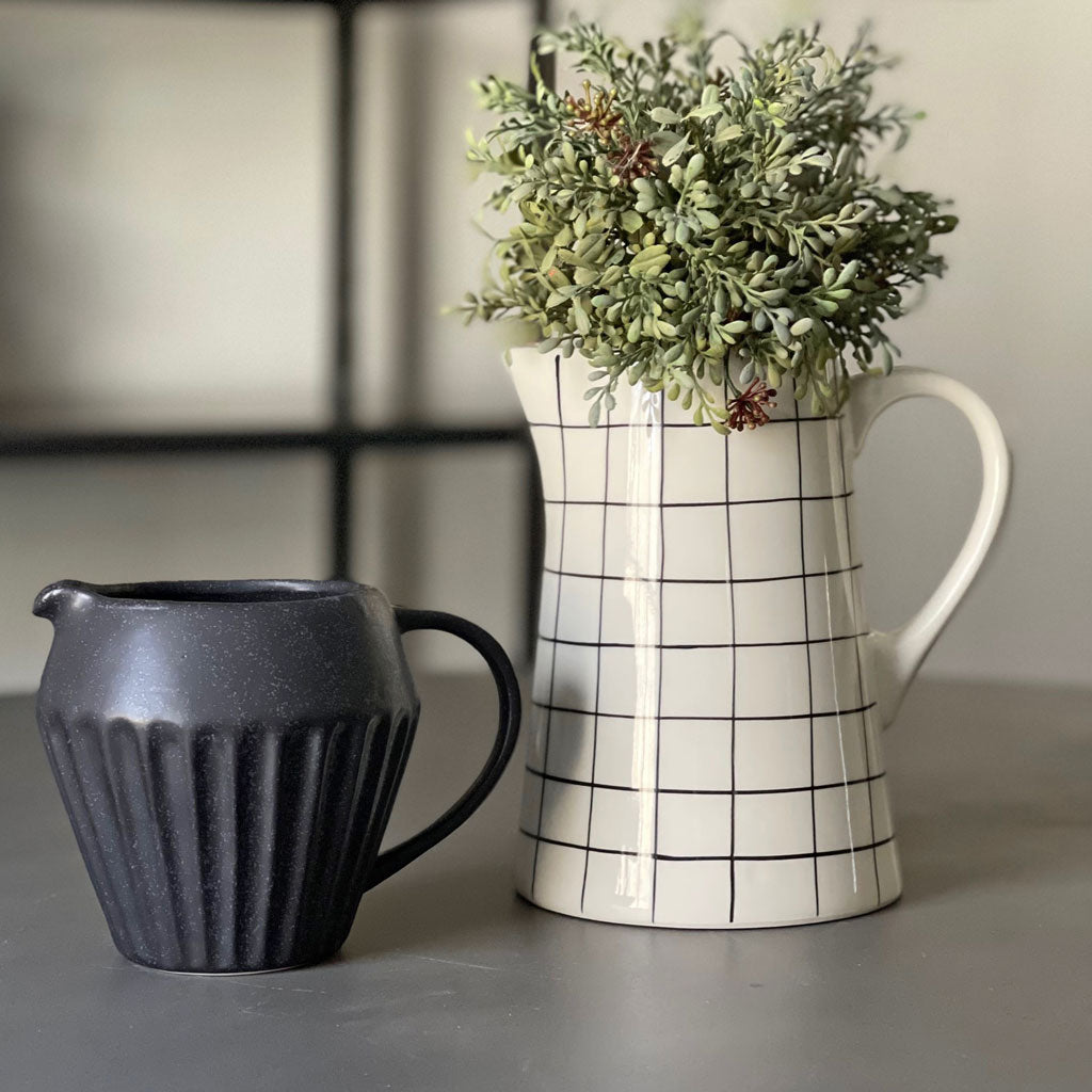 Stoneware Pitcher w/ Black Grid
