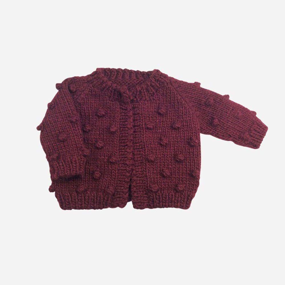 Popcorn Cardigan in Pomegranate